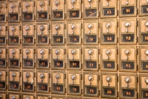 Mailboxes in Stahl Hall.