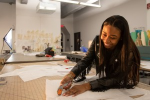 Student working in a Fashion Design classroom.