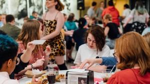 Students enjoy Late Night Breakfast during Spirit Week.