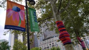 Fiber art in Sister Cities Park in Logan Square.