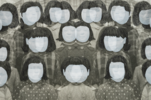 A black and white image of a group of girls with black hair. The girls stand in neat rows, their faces slightly obscured by white. The right and left halves of the image mirror each other along the center.