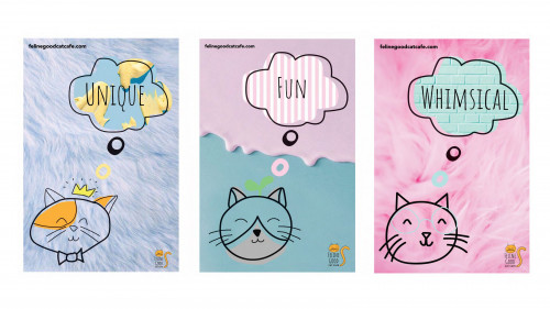 """Three posters with cute illustrations of cats thinking """"Unique,"""" """"Fun"""" and """"Whimsical"""" by Brooke Friend"""