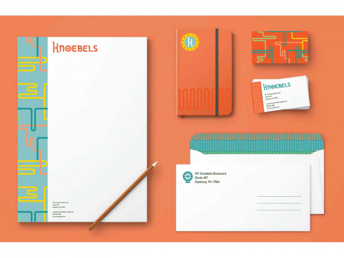 Stationery branding package for Knoebels with a letterhead, pencil, notebook, business cards and envelopes by Julia Parrick