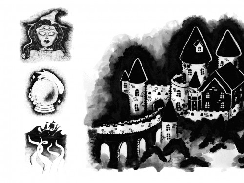 Black and white illustrations of a witch with three eyes, hands with a crystal ball, a ship sailing over giant tentacles and a castle by Julia Parrick