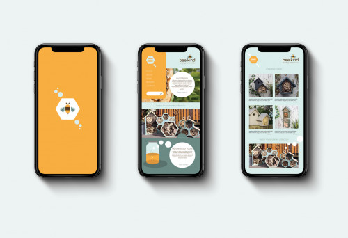 Bee Kind app mockups on iPhones by Kal Bracey
