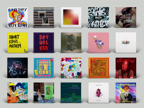 Collection of 20 vinyl record sleeve covers designed by Kal Bracey