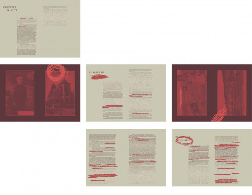 Multiple spreads of the book A Simple Heart with red scribbled text and red photos by Katie Rosenberger