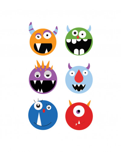 Illustrations of six silly monster faces by Madison Phillips