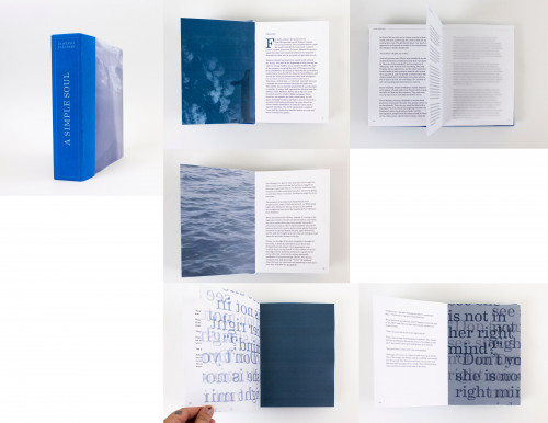 Book cover design and multiple spreads of a book design for A Simple Soul by Natalie Cosentini