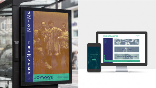 Mockups of a digital poster for Joywave at the Union Transfer and the Union Transfer website on an iPhone and iMac computer by Sara Johnson
