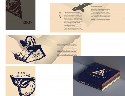 Book series packaging design and spreads for A Simple Soul by Zonnel Jane Magante