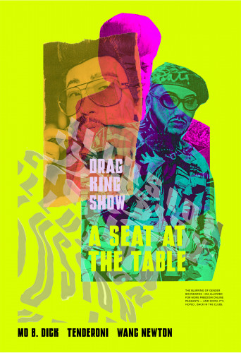 Brightly colored photo collage of drag kings by Madison Phillips