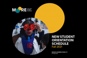 Cover of Student Orientation Schedule with a photo by Mikaela Ramirez-Faisca '21