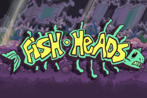 The words Fish Heads is spelled out in yellow letters outlined in green in a form that looks like bones of a fish, complete with a fish head on one end and a tail on the other. The words are on a blue and purple background.