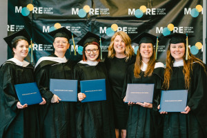 Photo of Art Education graduates and Director of Art Education, Lauren Stichter, at Art Education 2021 Commencement