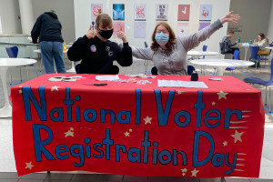 Moore Student Government Association members Alex Brewster '22 (left) and Devyn Jackson '22 provided registration forms and information about absentee ballots on the ninth annual National Voter Registration Day.