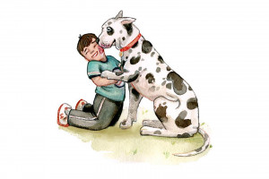 Illustration of a smiling young boy and a larger Dalmatian dog licking him by Stephanie Weinger '20.