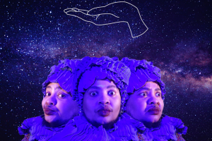 Wit López wearing a ruffled purple head covering and ruffled purple scarf in front of a background of the Milky Way galaxy. Above López is a white outline of an open-palmed hand with a drawing of a crown above it.
