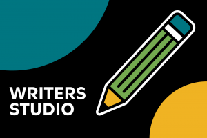 Writers Studio graphic with pencil and Moore circles