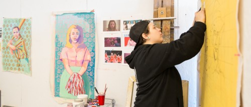 Rachel Yinger MFA '19 works in her studio during her time at Moore.