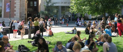 Students gathered in front of Moore.