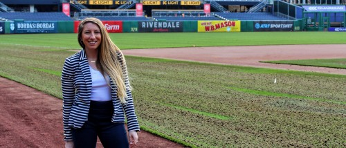 Brianna Gable '15, Graphic Design alum, at PNC Park in Pittsburgh, PA
