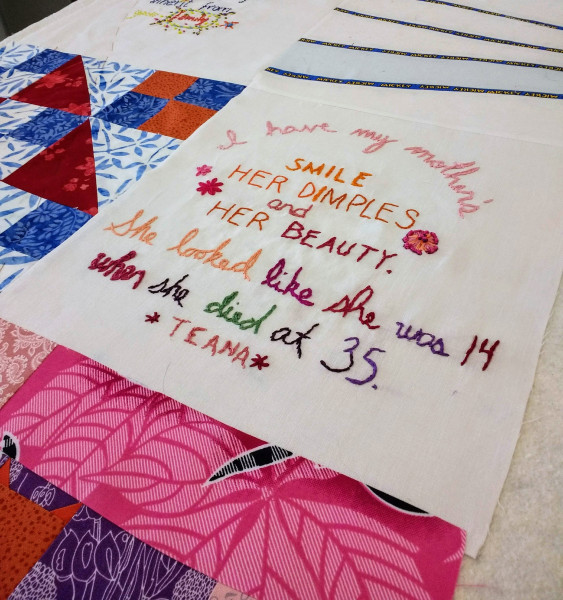 Detail of Inheritance quilt by Rachel Wallis MA '16