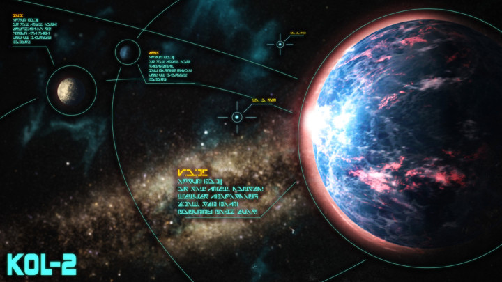 Graphic of an interface highlighting Kol-2, a planet from Jonathan Nevair's Goodbye to the Sun with unrecognizable writing designed by Stephen Wood.