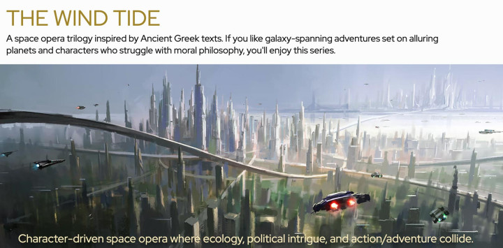 Graphic for Jonathan Nevair's Wind Tide series with a painting of a futuristic city with skyscrapers, winding highways and flying cars painted by Zishan Liu